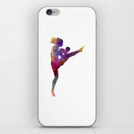 Woman boxer boxing kickboxing silhouette isolated 01 iPhone Skin