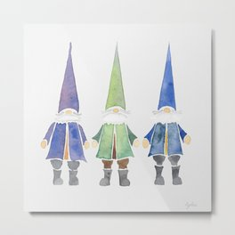 Three funny gnomes Metal Print