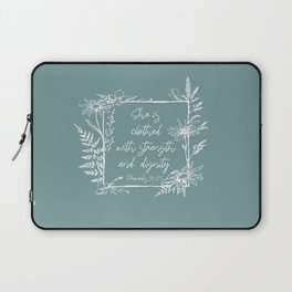 She Is Clothed Wildflower Frame Bible Verse Laptop Sleeve