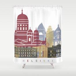 Helsinki skyline poster Shower Curtain