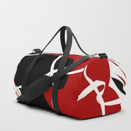 Black Red Net Cages and Splatter Abstract Art Duffle Bag
