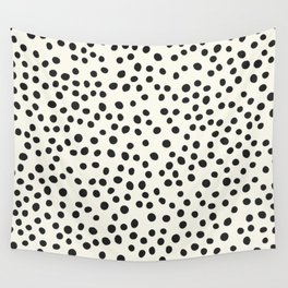 Black Decorative Dots on White, Minimalist line drawing, Modern art print with dots. Wall Tapestry