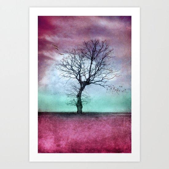 ATMOSPHERIC TREE - Winter Sun Art Print