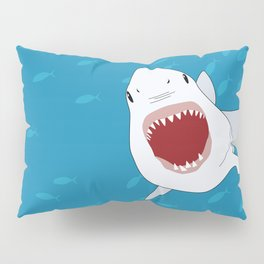 Shark Attack Underwater With Fish Swimming In The Background Pillow Sham