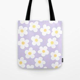 Lavender 70's Retro Flower Power Tote Bag