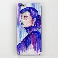 audrey hepburn iPhone & iPod Skins featuring Audrey Hepburn by VivianLohArts