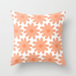 Crayon Flowers Smudgy Floral Pattern in Apricot and White Throw Pillow