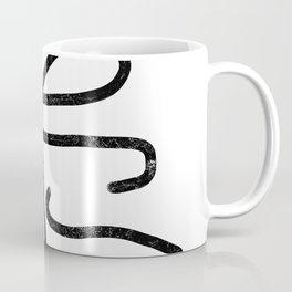 Linocut abstract minimal black and white art minimalist decor office dorm college Coffee Mug