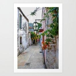 Flower Alley, Crete, Greece Art Print