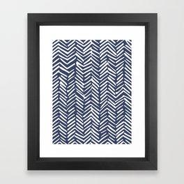 Boho Herringbone Pattern, Navy Blue and White Framed Art Print