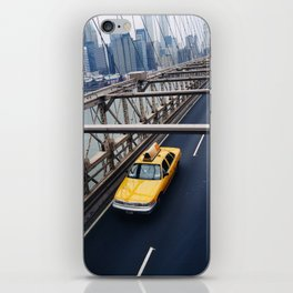 New York Cab with Twin Towers in background over Brooklyn Bridge iPhone Skin