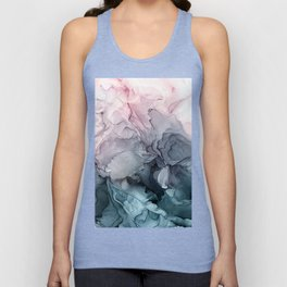 Blush and Paynes Gray Flowing Abstract Reflect Unisex Tank Top