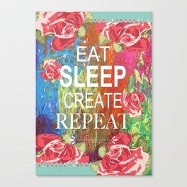 Eat Sleep Create Repeat Mixed Media Collage Canvas Print