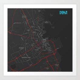 Minimalist Modern Map of Doha, Qatar 2A Art Print