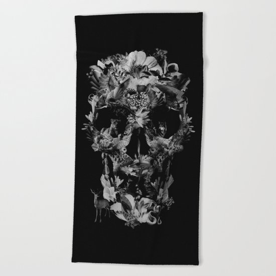Jungle Skull B&W Beach Towel