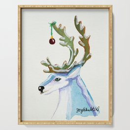 Frosty Reindeer Ice Blue with Red Ornament Serving Tray