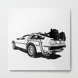 DeLorean / BW Metal Print