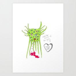 Alien Monster in love Art Print