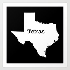 Texas State outline  Art Print