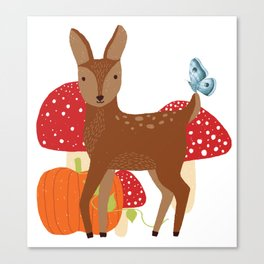 Brown Deer and Blue Butterfly Autumn Design Canvas Print