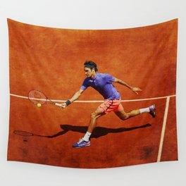 Roger Federer Tennis Chip Return Wall Tapestry
