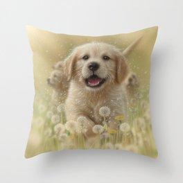 Golden Retriever Puppy - Dandelions Throw Pillow