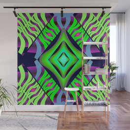 Mystic Diamond on Green/Purple/Pink/Light Blue/Navy Wall Mural