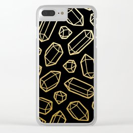 Black & Gold Crystal Pattern Clear iPhone Case