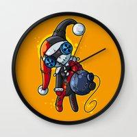 harley Wall Clocks featuring Harley Doll by Artistic Dyslexia