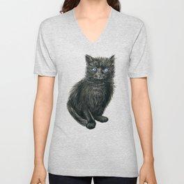Black kitten Unisex V-Neck