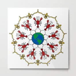 Crawfish Mandala Metal Print