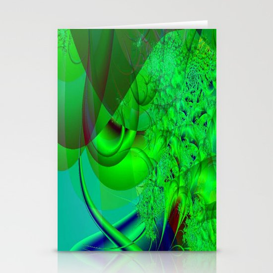 Abstract Green Algae Stationery Cards