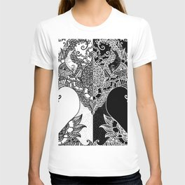 Unity of Halves - Life Tree - Rebirth - White Black T-shirt