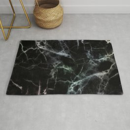 Luxurious Black Marble With Smoky Veins Rug