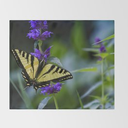 Butterfly on a Purple Flower Throw Blanket