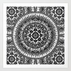 Black and White Mandala Pattern Art Print