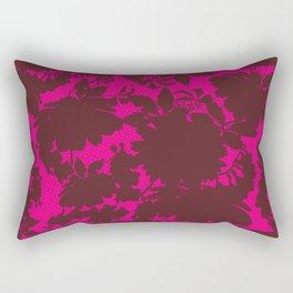 dark floral silhouette on deep pink Rectangular Pillow