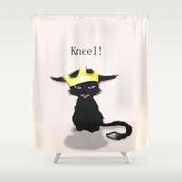 stephen king Shower Curtains featuring King by quackso