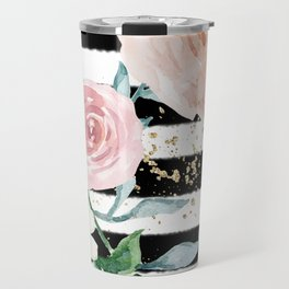 Rose Arrangement on Black Stripes No. 1 Travel Mug
