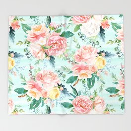 Minty Vintage Floral Throw Blanket
