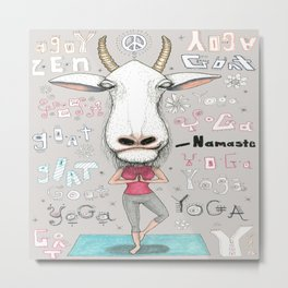 goat yoga, gray white aqua turquoise red Metal Print