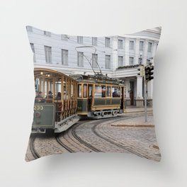 Helsinki Classic Tram Throw Pillow