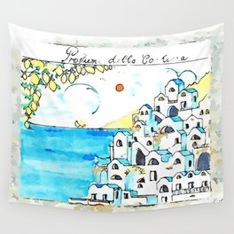 Ravello: painted ceramic tile Wall Tapestry