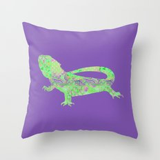 Bearded Dragon Vintage Floral Pattern Purple Green Mint Pink Shabby Chic Throw Pillow