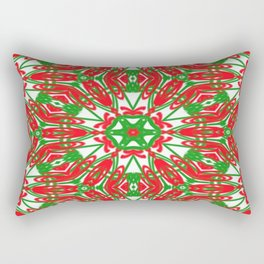 Red, Green and White Kaleidoscope 3376 Rectangular Pillow