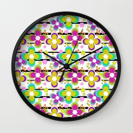 Bright abstract floral pattern. Stripe . Wall Clock