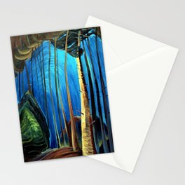 Big Sky Country, Forest Morning Blue portrait painting by Emily Carr Stationery Cards