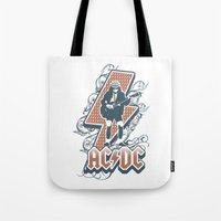 acdc Tote Bags featuring acdc angus young by aceofspades81