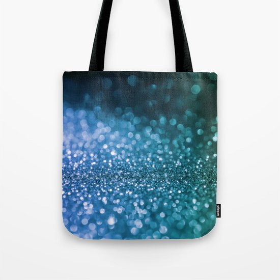 Foam on the sea - Blue glitter effect texture Tote Bag