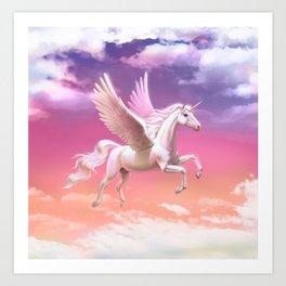 Flying unicorn at sunset Art Print